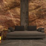 Wall: RED DAMASCO | Floor: GRIS PULPIS
