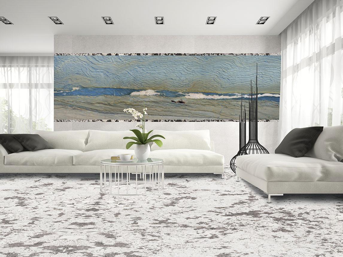 جدار: AZUL MACAUBAS | الأرضية: جرانيت أبيض ملكي