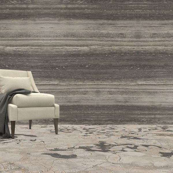 Wall: SILVER TRAVERTINO | Floor: BRECCIA ANTICA